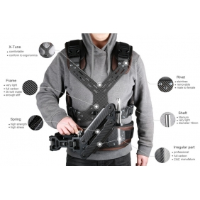MV136  Famoushobby Camera Shoulder Load Vest,3K Full Carbon Fiber Steadicam Camera Vest,Smooth Shooter Support System for Video DS