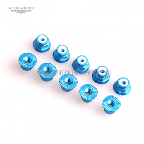 Wholesale FSN005 Blue M3 Aluminum Serrated Flanged Nylon Insert Lock Nuts for RC drones/ Multicopters,10pcs/lot