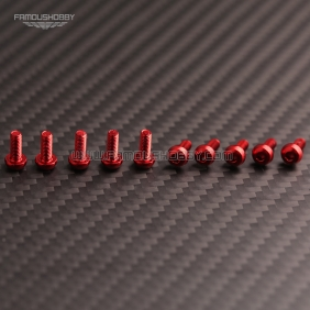 Wholesale 7075 Red M3X5MM  Aluminum Botton Bolts,Round Head aluminum screws for RC Drone / Quadcopters,50pcs/lot