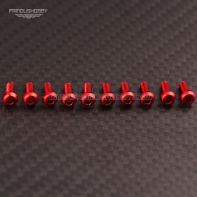 Wholesale 7075 Red M3X20MM  Aluminum Botton Bolts,Round Head aluminum screws for RC Drone / Quadcopters,50pcs/lot