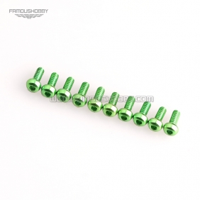 Green M3X16MM  Aluminum Botton Bolts,Round Head aluminum screws for RC Drone / Quadcopters,10pcs/lot2
