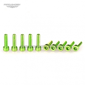 Wholesale 7075 M3X8MM  Green Color Hex head Socket Aluminum Bolts,Cap head aluminum screws for Drone/Quadcopters,50pcs/lot