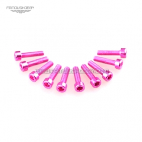 Wholesale 7075 M3X12M  Pink color Socket Aluminum Bolts,cap head aluminum screws for RC Drone / Quadcopters,50pcs/lot