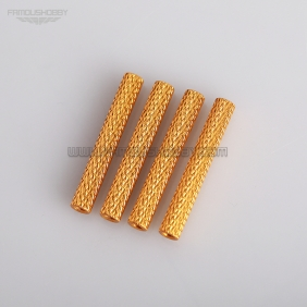 Wholesale M3*35mm Golden Aluminum Round Knurled / Texture Spacer/Standoff, 4pcs/lot