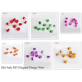 Wholesale 10pcs/ Lot M5 low profile Aluminum Flange Hexagon Nuts, Colored Aluminum Nylon Insert Flange Lock Nuts