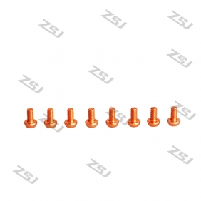 Wholesale 7075 Orange M3X8MM  Aluminum Botton Bolts,Round Head aluminum screws for RC Drone / Quadcopters,50pcs/lot